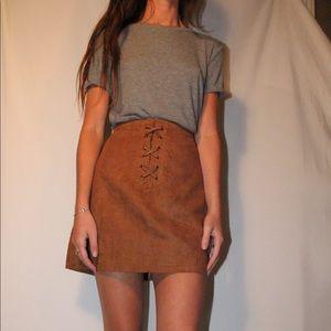 BCBG tan suede skirt